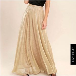 NWOT Lulu's Jovial Occasion Gold Maxi Skirt